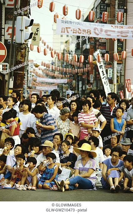 Crowd at a traditional festival, Tanabata Festival, Sendai, Miyagi Prefecture, Japan
