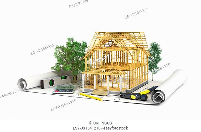 Concept of construction. 3d render of house in building process with trees, calculator and pencil on the blueprint. We see constituents of roof frame and...