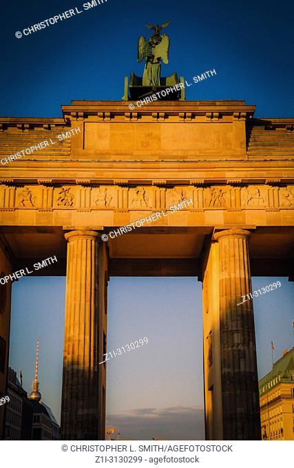 The Brandenburg Gate at sunset in Berlin Germany