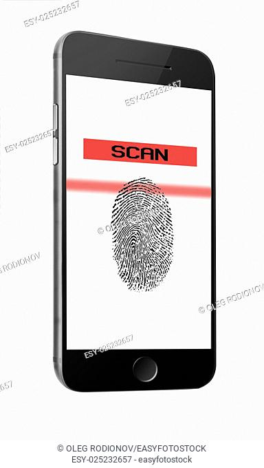 Mobile smart phone with fingerprint of thumb isolated on white background. Highly detailed illustration