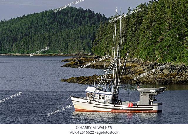Commercial fishing boat in Auke Bay near Juneau, Southeast Alaska; Alaska, United States of America
