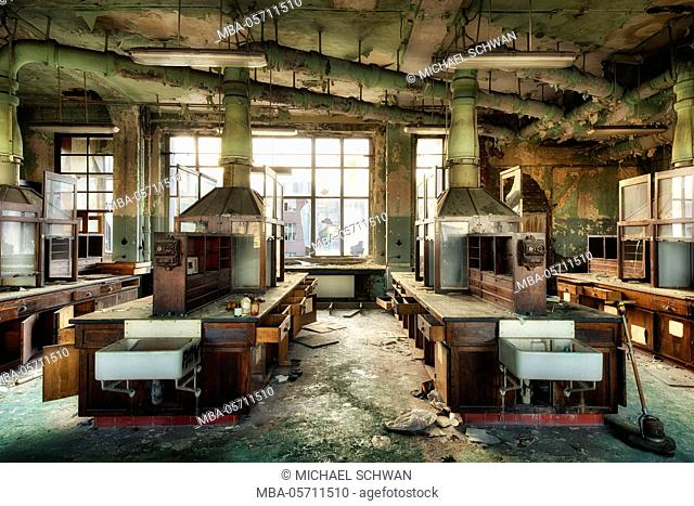 Chemical laboratory in an abandoned university