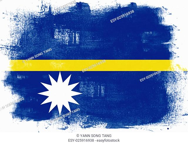 Flag of Nauru painted with brush on solid background