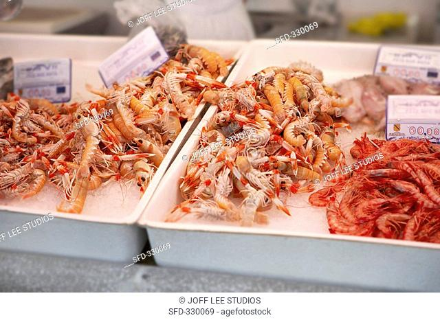 Prawns and langostinos on crushed ice at a fish market