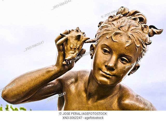 Bronze statue, Fillette à la coquille by Léopold Morice, Girl with Shell, Pont Alexandre III bridge, River Seine, Paris, France, Europe