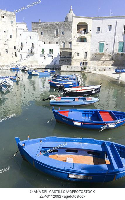 Old fishing port Monopoli in Puglia Italy on July 12, 2018