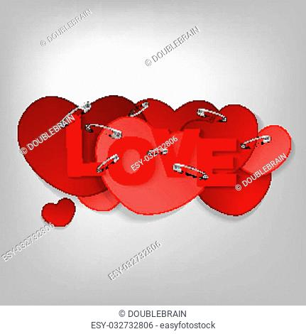 The illustration of a pinned red hearts. Vector image