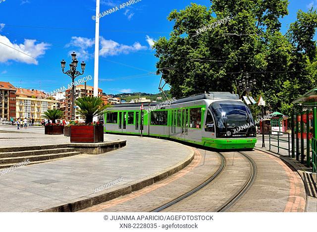 Bilbao Tram, Bilbao, Biscay, Basque Country, Euskadi, Spain, Europe