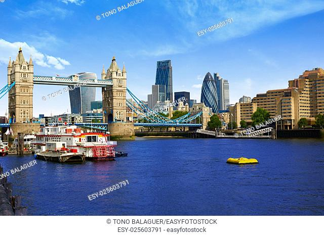 London Tower Bridge on Thames river in England