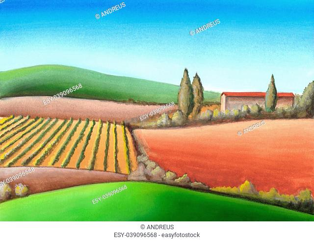 Summer farmland in Tuscany, Italy. Hand painted illustration