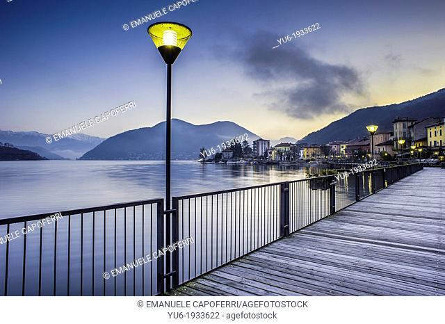 pedestrian promenade of PortoCeresio at dawn, Lake Lugano, Italian side, PortoCeresio, Varese, Lombardy, Italy
