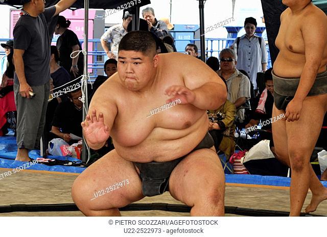Naha, Okinawa, Japan: sumo wrestler at the Haarii Dragon Boat Festival