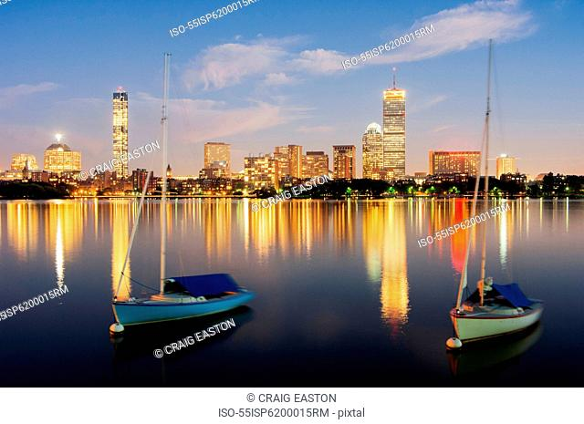 Boats and Boston skyline, USA
