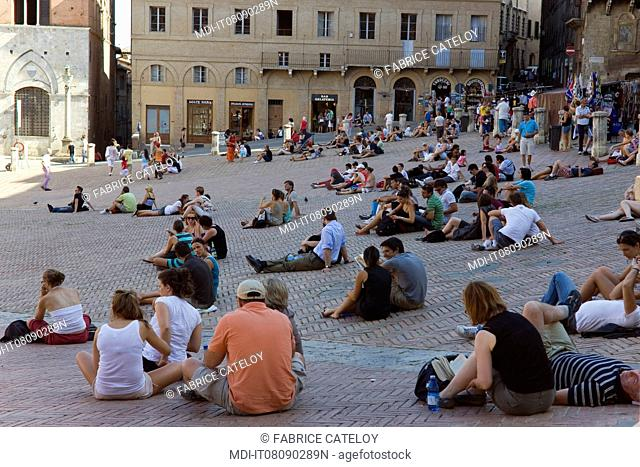 Tourists on the Piazza del Campo