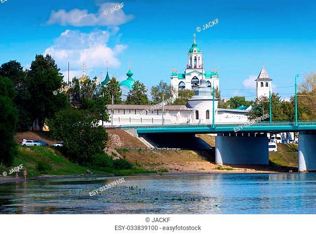 Holy Transfiguration Monastery from bridge through Kotorosl in Yaroslavl. Russia