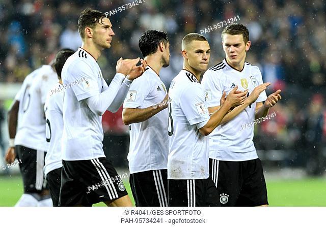 final jubilation after dem Spiel with Leon Goretzka, Lars Stindl, Joshua Kimmich und Matthias Ginter (alle Germany) GES/ Fussball/ WM Qualifikation: Germany -...