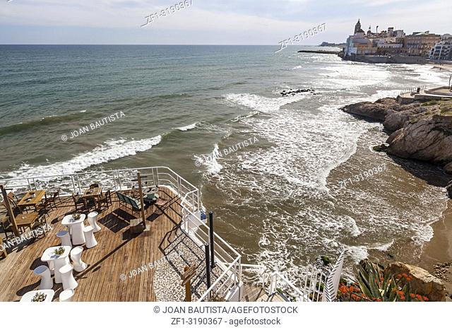 Front maritime of Sitges, touristic city near to Barcelona in Garraf coast. Catalonia,Spain