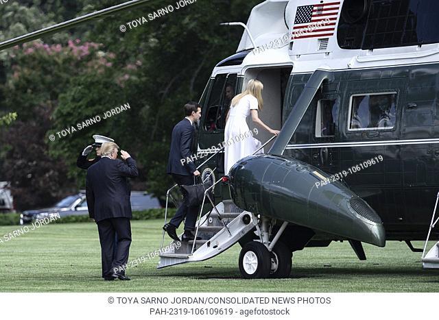 U.S. President Donald Trump salutes as White House senior advisor Jared Kushner and White House senior advisor Ivanka Trump board Marine One departing the South...