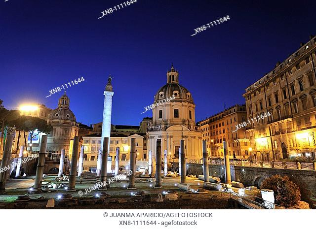 Night View of the Forum of Trajan with Santa Maria di Loreto in the background