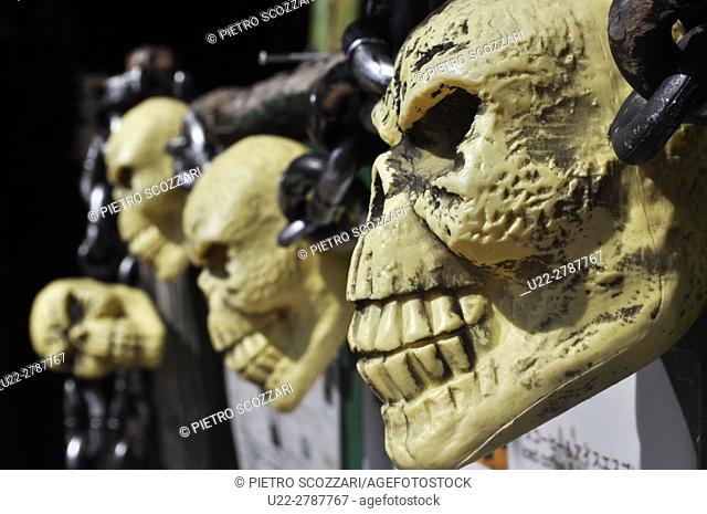 Chatan, Okinawa, Japan: plastic skulls decorating the American Village at Miyama during Halloween