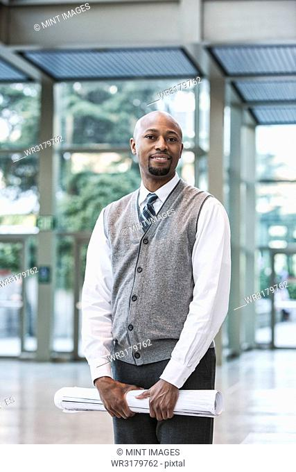 Black man business person in a business centre