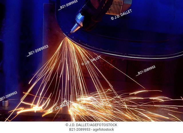 France. Midi Pyrénées. Tarn et Garonne. ATECA at Verlhaguet.: drilling aircraft part iwth CO2 laser