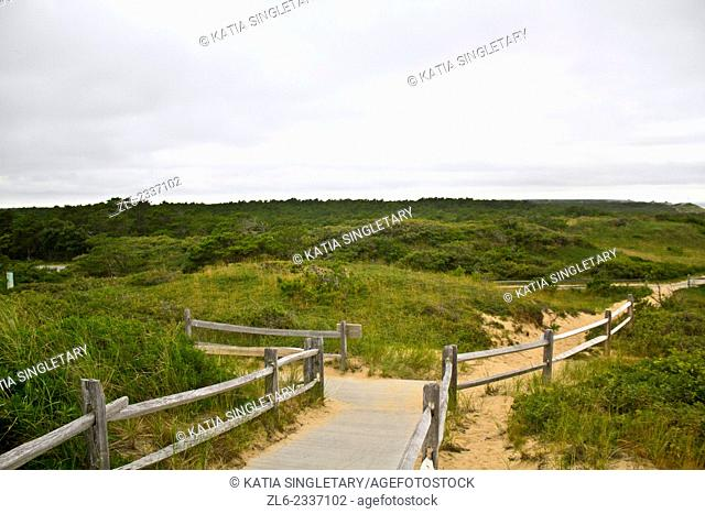 Road on the shore of Cape Cod, Massachusset that leads in to where the first Marconi transatlantic machine was installed by Marconi
