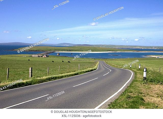 3rd Churchill Barrier CHURCHILL BARRIERS ORKNEY Road on Burray leading to Glimps Holm via causeway