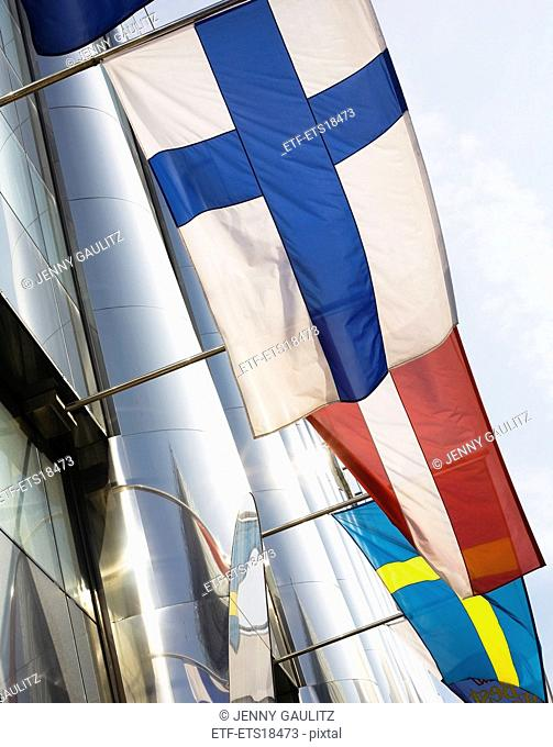 Nordic flags on a facade, Sweden