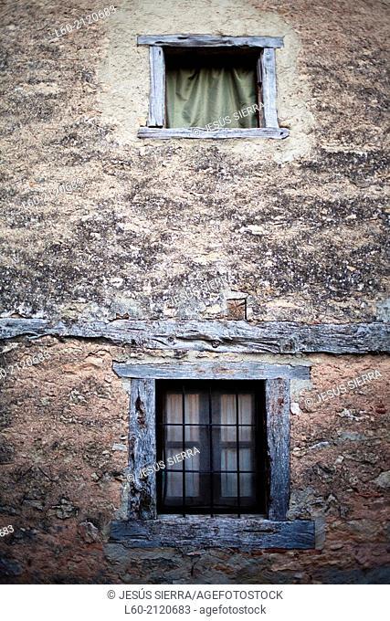 Windows, Calatañazor, Mediaeval village, Soria province, Castile-Leon Spain