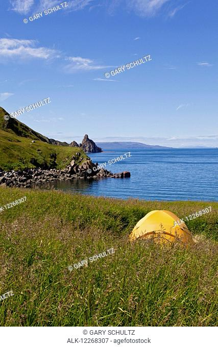 Scenic view of Dragon's Tail formation, walrus hauled out on rocks and a campsite on Main Beach, Walrus Islands State Game Sanctuary, Round Island, Bristol Bay