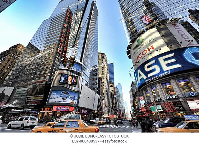 Looking up at 42nd and Broadway, Times Square, New York City, NY, USA