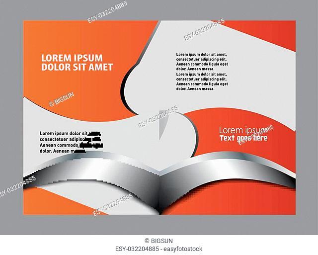 Blue bi-fold brochure template design, business leaflet, booklet