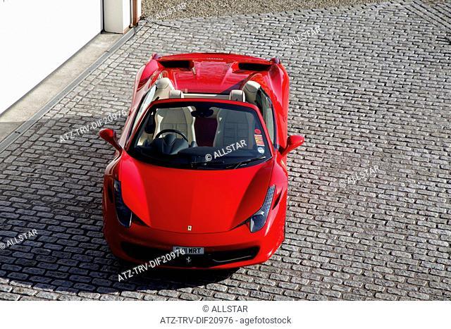RED FERRARI 458 SPIDER CAR; SCARBOROUGH, NORTH YORKSHIRE; 02/03/2013