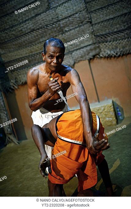 Angam Pora practice with Guru Karunapala, great master of this ancient Sri Lankan Martial Art who teaches at his school in Mirihana suburb, Colombo, Sri Lanka