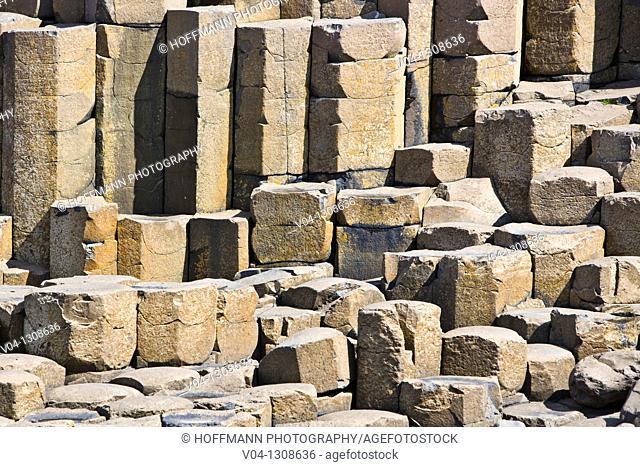 Detail of basalt stones, Giant's Causeway, Northern Ireland, Europe
