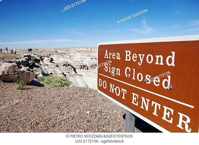 Arizona, U.S.A., sign at the Petrified Forest National Park