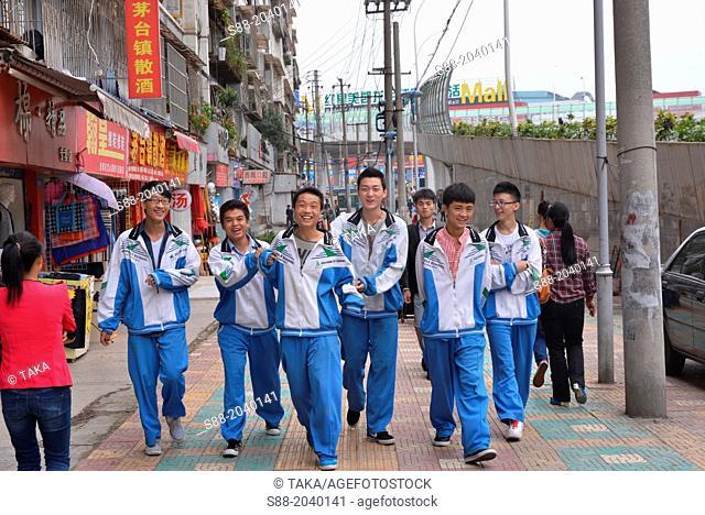 School boys on the street in Guiyang