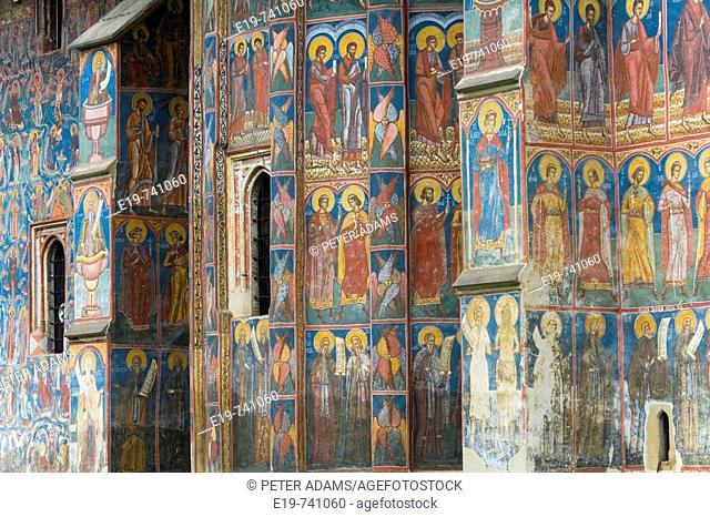 Outside of Moldovita 'painted monastery', Southern Bucovina, Romania