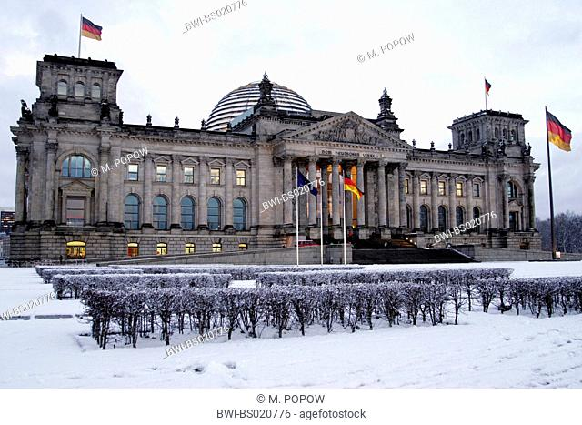 Reichstag building in winter, Germany, Berlin