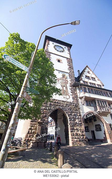 Cityscape in Freiburg on April 20, 2017 Germany. Clock gate and tower Martinstor