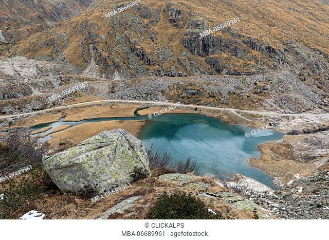 Italy, Trentino Alto Adige, Adamello Brenta Park, Nambrone valley, Cornisello lake in a autumn day