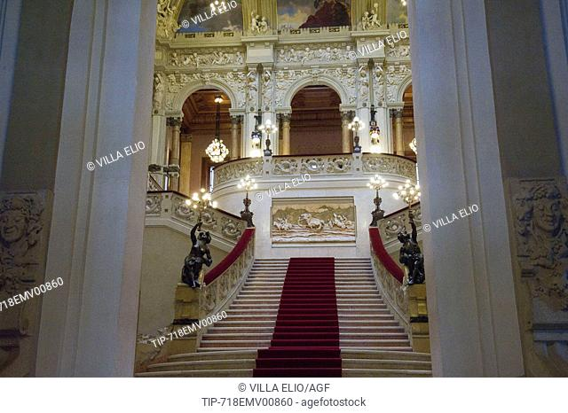 Italy; Lombardy; Bergamo, San. Pellegrino Terme; Kursaal Municipal Casino Designed by Arch. Romolo Squadrelli with glass windows by Giovanni Beltrame