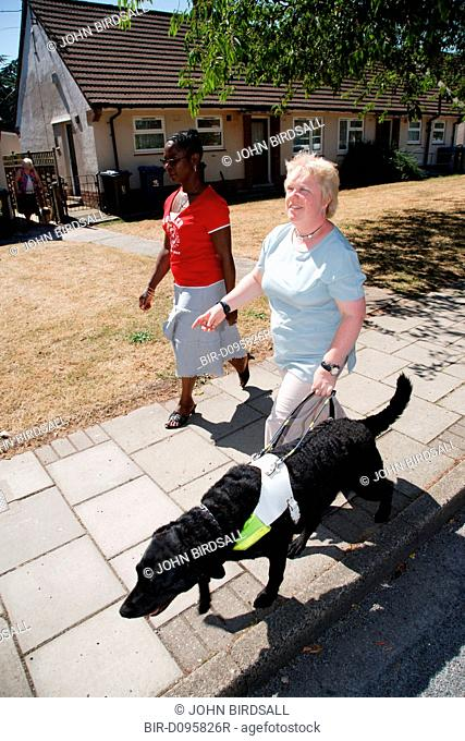 Woman with visual impairment with friend walking down street with guide dog
