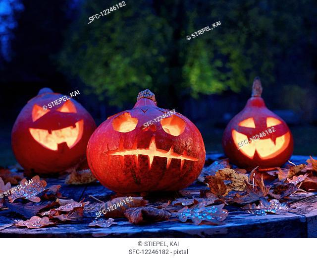 Three Halloween pumpkins in a garden