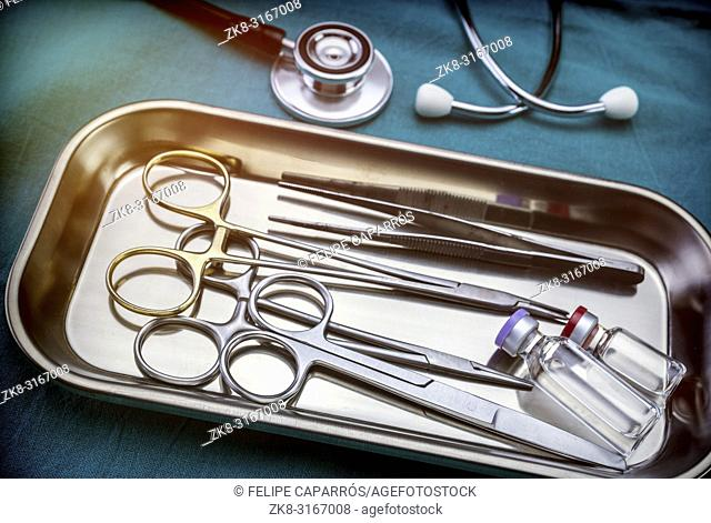 Several scissors for surgery in operating room of a hospital, conceptual image