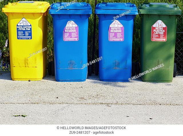 Seperate bins for food, cartons and plastic and glass, Saint Erasmus, Venetian Lagoon, Veneto, Italy, Europe