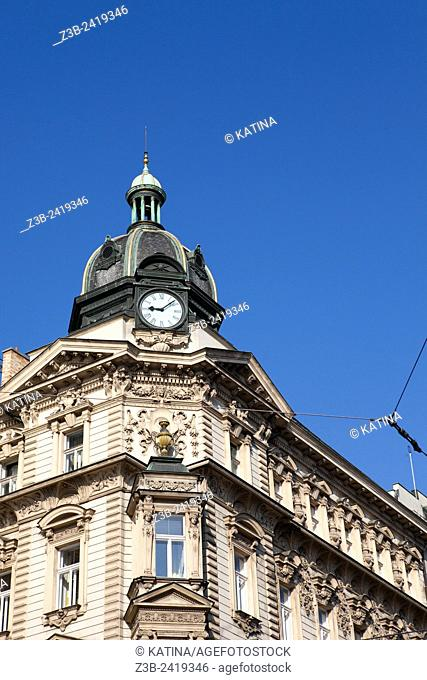 Ornate architecture in Wenceslas Square, (Czech: Vaclavske Namesti) one of Prague's main and historic squares, in New Town, Prague, Czech Republic, Europe