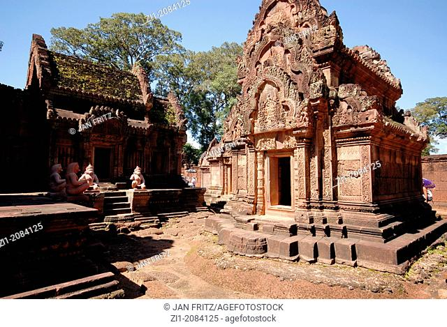 the Banteay Srei temple of the Angkor Wat complex in Cambodia