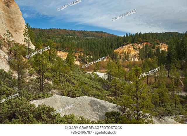 Scarred landscape from hydrolic gold mining at Malakoff Diggins State Historic Park, California
